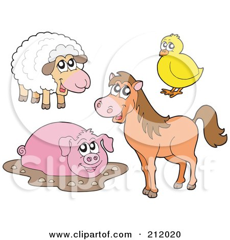 Digital Collage Of A Cute  Sheep, Chick, Muddy Pig And Horse Posters, Art Prints