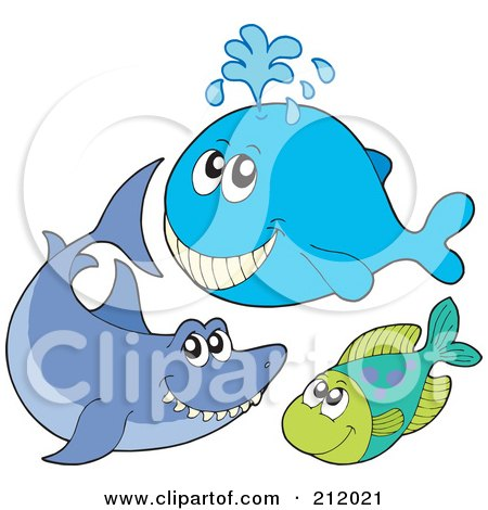 Royalty-Free (RF) Clipart Illustration of a Digital Collage Of A Happy Whale, Shark And Fish by visekart