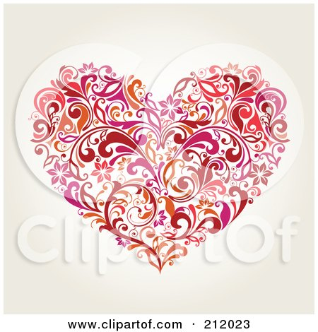 Royalty-Free (RF) Clipart Illustration of a Red And Orange Floral Heart Design On Beige by OnFocusMedia