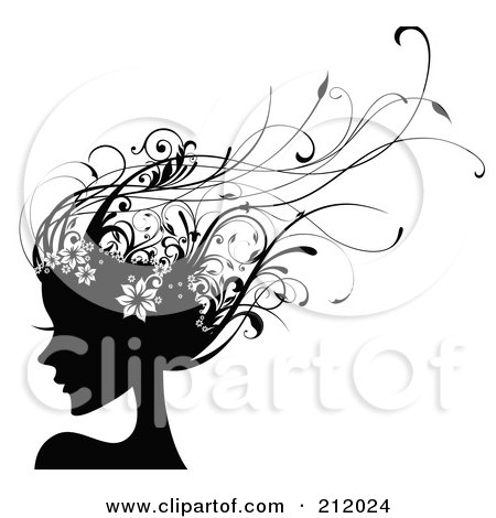 Royalty-Free (RF) Clipart Illustration of a Beautiful Woman With Long Black Floral Vine Hair by OnFocusMedia