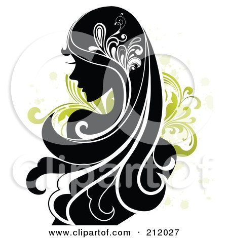 Royalty-Free (RF) Clipart Illustration of a Beautiful Woman With Long Black Hair Over Green Vines by OnFocusMedia