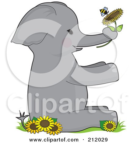 Royalty-Free (RF) Clipart Illustration of an Elephant Holding A Flower With A Bee, Forming The Letter E by Maria Bell