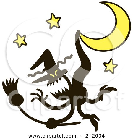 Royalty-Free (RF) Clipart Illustration of an Evil Witch Stuck On A Crescent Moon by Zooco