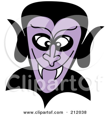 Royalty-Free (RF) Clipart Illustration of a Grinning Purple Dracula Face by Zooco