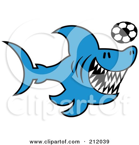 Royalty-Free (RF) Clipart Illustration of a Blue Shark Playing Soccer by Zooco
