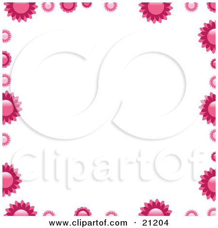 Clipart Illustration of Pink Flowers Bordering A White Background by elaineitalia