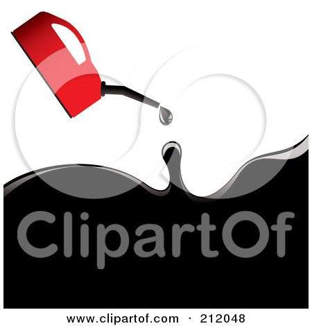 Royalty-Free (RF) Clipart Illustration of a Red Oil Can Pouring Out Black Oil by michaeltravers