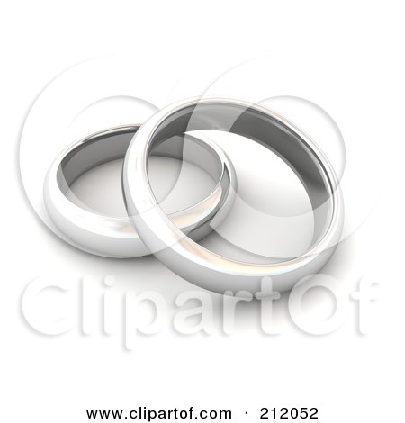 RoyaltyFree RF Clipart Illustration of a 3d Pair Of Silver Wedding Bands