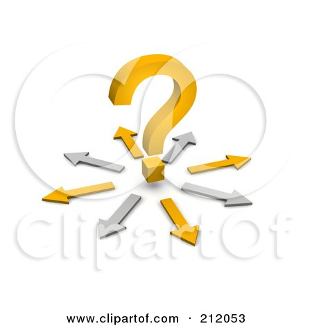 Royalty-Free (RF) Clipart Illustration of a 3d Orange Question Mark Surrounded By A Circle Of Arrows by Jiri Moucka