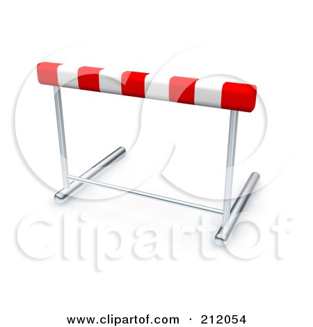 Royalty-Free (RF) Clipart Illustration of a 3d Red And White Track Hurdle by Jiri Moucka