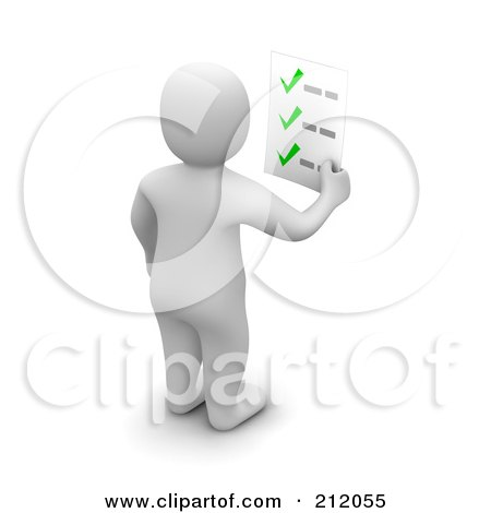 Royalty-Free (RF) Clipart Illustration of a 3d Blanco Man Facing Away And Holding A Check List by Jiri Moucka