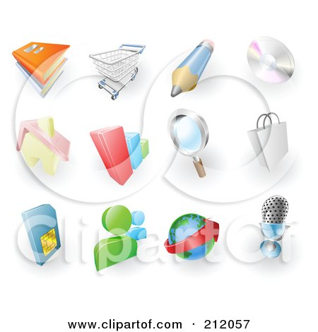 Digital Collage Of Books, Shopping Cart, Pencil, Cd, Home, Bar Graph, Search, Shopping Bag, Sms Card, Chat, Email And Microphone Web Browser Icons Posters, Art Prints