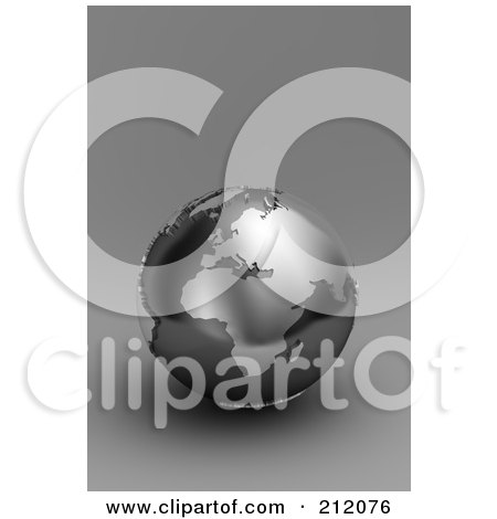 Royalty-Free (RF) Clipart Illustration of a 3d Black And Silver Globe Of Europe And Africa On Gray by stockillustrations