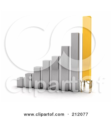 Royalty-Free (RF) Clipart Illustration of Four 3d Wooden Mannequins Working Together To Lift A Bar On A Bar Graph  by stockillustrations