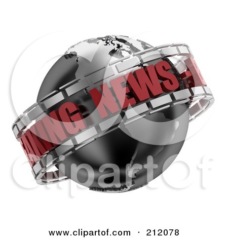 Royalty-Free (RF) Clipart Illustration of a 3d Black, Red And Silver Breaking News Globe by stockillustrations