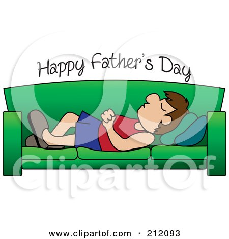 Royalty-Free (RF) Clipart Illustration of Happy Father's Day Text Over A Caucasian Dad Napping On A Couch by Pams Clipart