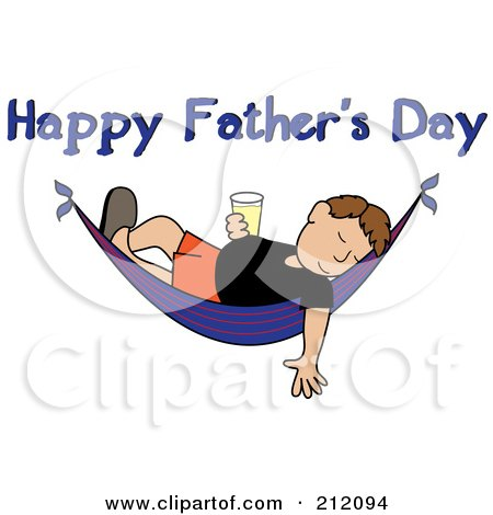 Royalty Free RF Clipart Illustration Of A Happy Fathers Day Greeting Over Relaxed Man With Beer Sleeping In Hammock By Pams