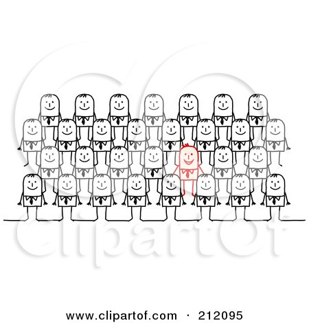 Royalty-Free (RF) Clipart Illustration of a Red Stick Businessman Standing Out From Rows Of Plain Men by NL shop