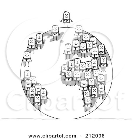 Royalty-Free (RF) Clipart Illustration of a Team Of Stick Businses Men On A Globe, The Boss On The Top by NL shop