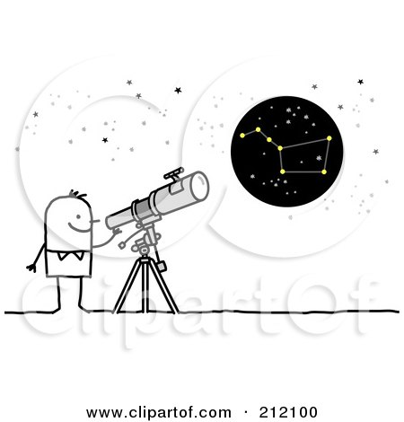 Royalty-Free (RF) Clipart Illustration of a Stick Man Using A Telescope To View The Big Dipper by NL shop