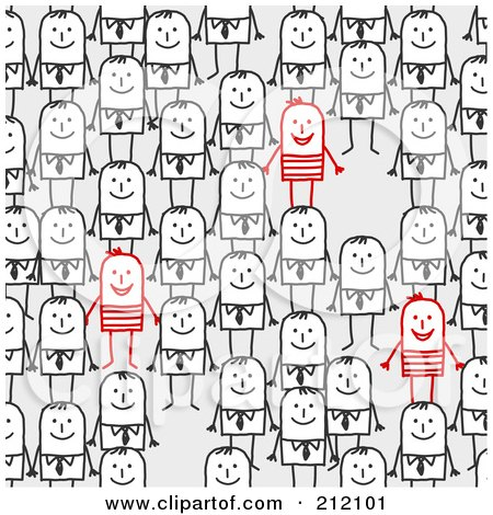 Royalty-Free (RF) Clipart Illustration of a Few Red Stick Men Standing Out From A Crowd by NL shop
