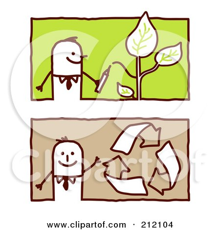 Royalty-Free (RF) Clipart Illustration of a Digital Collage Of Stick Business Men With Leaves And Recycle Arrows by NL shop