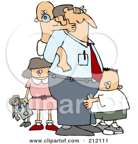 Royalty-Free (RF) Clipart Illustration of a Baby Grabbing Dad's Face From His Back And Two Other Children by djart