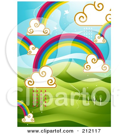 Royalty-Free (RF) Clipart Illustration of a Background Of Rainbows And Clouds With Rain Over Hills by BNP Design Studio