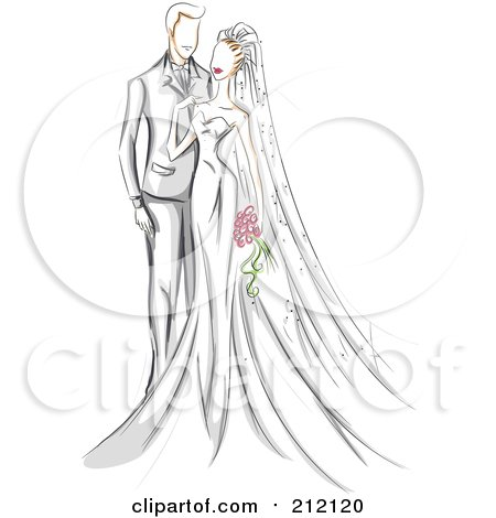 Royalty-Free (RF) Clipart Illustration of a Sketched Wedding Couple With The Bride Touching Her Groom by BNP Design Studio