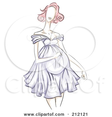 Royalty-Free (RF) Clipart Illustration of a Sketched Pregnant Woman In A Purple Dress by BNP Design Studio