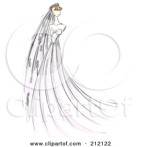 Royalty-Free (RF) Clipart Illustration of a Sketched Bride In A Long Gown And Veil by BNP Design Studio