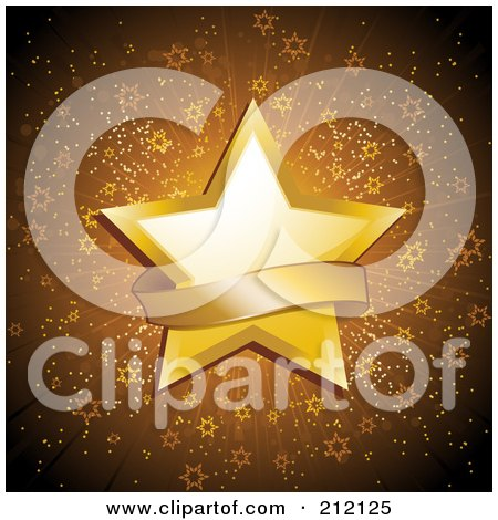 Royalty-Free (RF) Clipart Illustration of a Sparkly Golden Star And Banner Background by elaineitalia