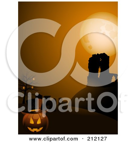 Royalty-Free (RF) Clipart Illustration of a Pumpkin Wearing A Top Hat In A Cemetery By Ruins by elaineitalia