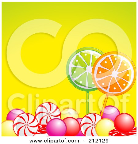 Royalty-Free (RF) Clipart Illustration of Colorful Gum Balls And Hard Candy Over Yellow by elaineitalia