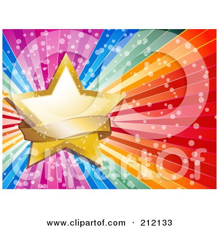 Royalty-Free (RF) Clipart Illustration of a Golden Star And Sparkly Banner On A Bursting Rainbow Background by elaineitalia