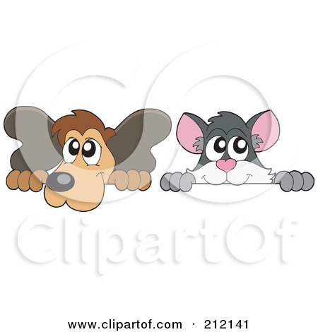 Royalty-Free (RF) Clipart Illustration of a Digital Collage Of A Cat And Dog Looking Over Blank Signs by visekart