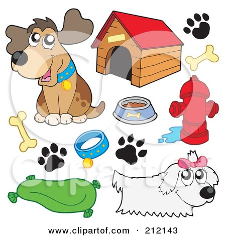 Royalty-Free (RF) Clipart Illustration of a Digital Collage Of Dogs And Dog Items by visekart