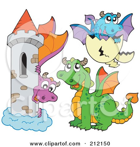 Royalty-Free (RF) Clipart Illustration of a Digital Collage Of Dragons And A Castle by visekart