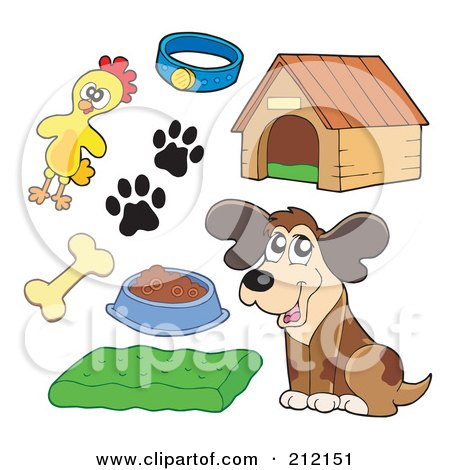 Royalty-Free (RF) Clipart Illustration of a Digital Collage Of A Dog And Dog Items by visekart