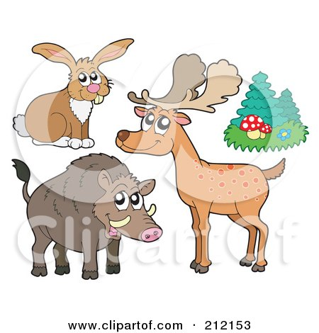 Royalty-Free (RF) Clipart Illustration of a Digital Collage Of A Forest Hare, Deer, Trees And Boar by visekart