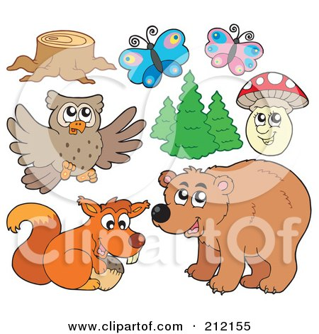 Royalty-Free (RF) Clipart Illustration of a Digital Collage Of A Tree Stump, Butterflies, Trees, Mushroom, Owl, Squirrel And Bear by visekart