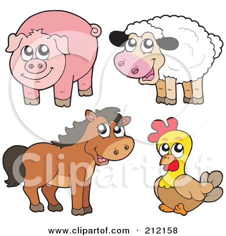 Royalty-Free (RF) Clipart Illustration of a Digital Collage Of A Cute Sheep, Pig, Horse And Chicken by visekart