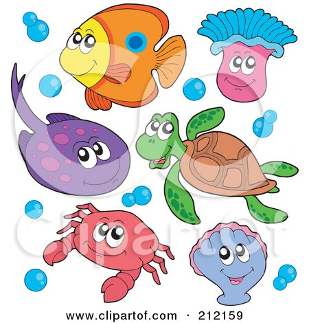 Royalty-Free (RF) Clipart Illustration of a Digital Collage Of A Fish, Ray, Anemone, Sea Turtle, Crab And Clam by visekart