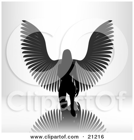 Clipart Illustration of a Kneeling Female Angel On A Reflective Surface, Silhouetted In A Bright Light by elaineitalia