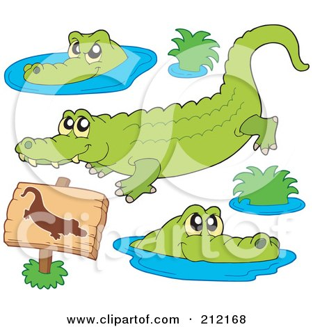 Royalty-Free (RF) Clipart Illustration of a Digital Collage Of Crocodiles by visekart