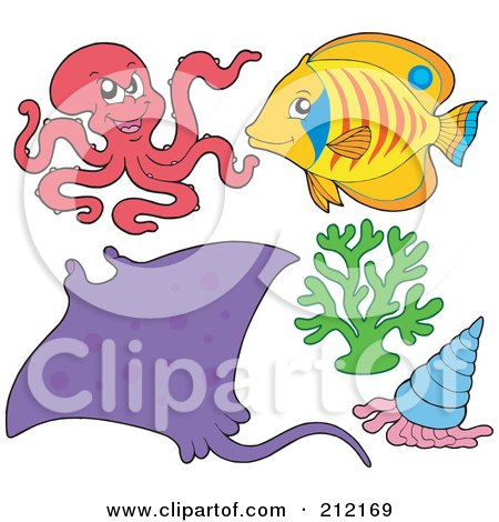 Royalty-Free (RF) Clipart Illustration of a Digital Collage Of A Mean Octopus, Ray, Fish, Coral And Shell by visekart