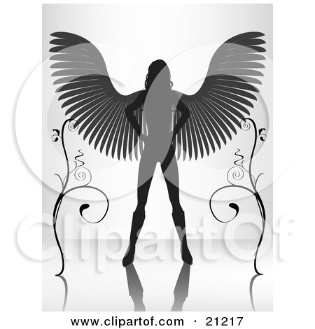 Clipart Illustration Of A Silhouetted Female Angel Standing With Her Wings Spanned Between Two Vines On A Reflective Surface