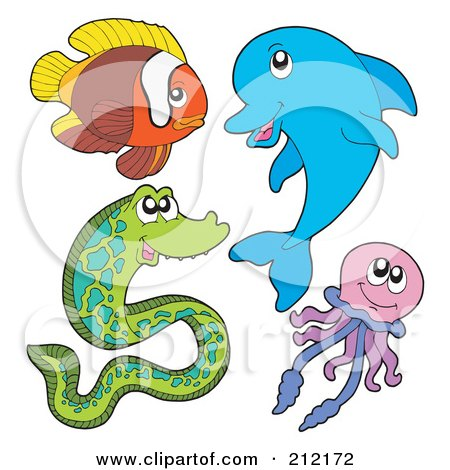 Royalty-Free (RF) Clipart Illustration of a Digital Collage Of A Fish, Dolphin, Eel And Jellyfish by visekart