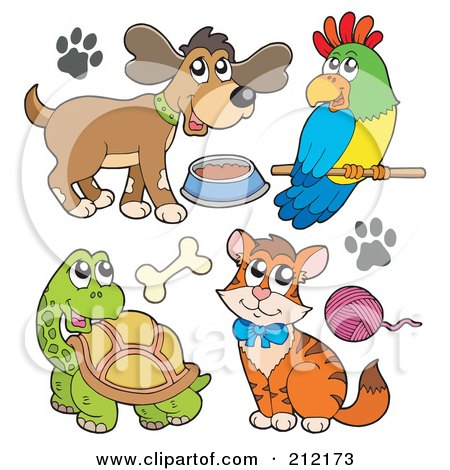 Royalty-Free (RF) Clipart Illustration of a Digital Collage Of A Dog With Food, Parrot, Tortoise And Cat by visekart