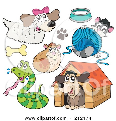 Royalty-Free (RF) Clipart Illustration of a Digital Collage Of A Dog, Hamster, Snake, Cat And Dog House by visekart